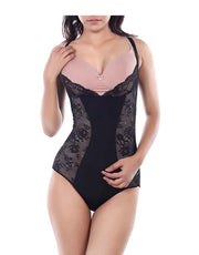 Waist Watcher Lace Bodysuit-Black