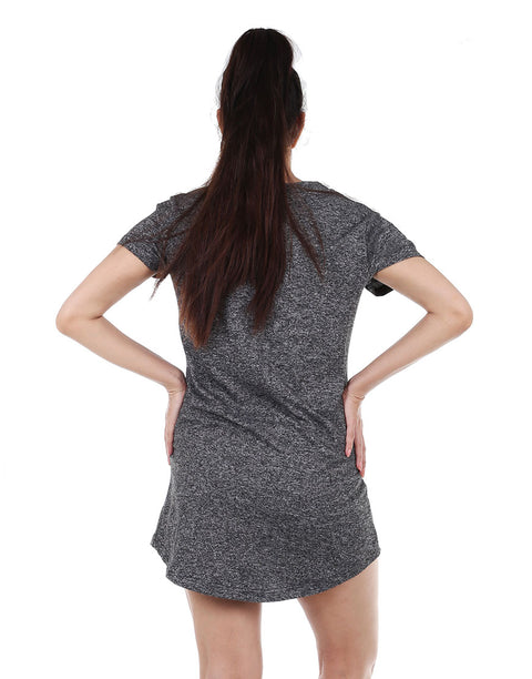 Knee Length Sleep Shirt-Grey