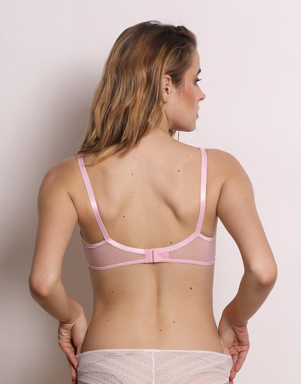 Color Struck Double Layered Wired Bra-Light Pink