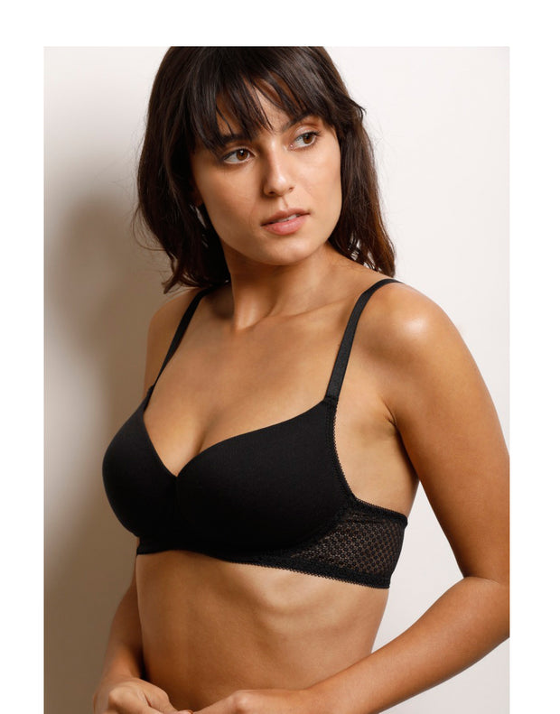Lightly Padded non-wired Smooth t-shirt Bra-Black
