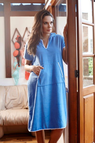 Penny Terry-fic Slip On Style Hooded Bathrobe - Blue