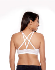 Penny Lace Embrace Crisscross Back Cami Bra with Removable Padding