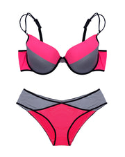 PLUS SIZE NEON PINK BRA SET