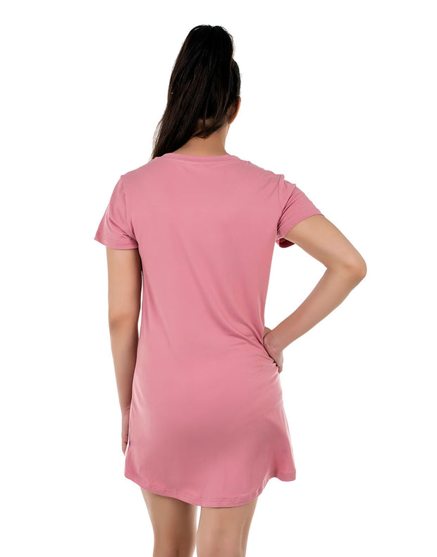 Knee Length Sleep Shirt-Tea Pink