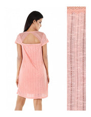 TAHARI POINTELLE KNIT SHORT SLEEVE SLEEP SHIRT-PEACH