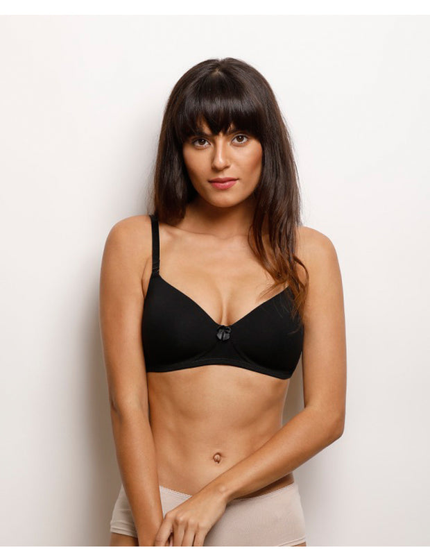 Lighty Padded Multiway Wirefree T-Shirt Bra With Extra Pair of Trasnparent Straps-Black