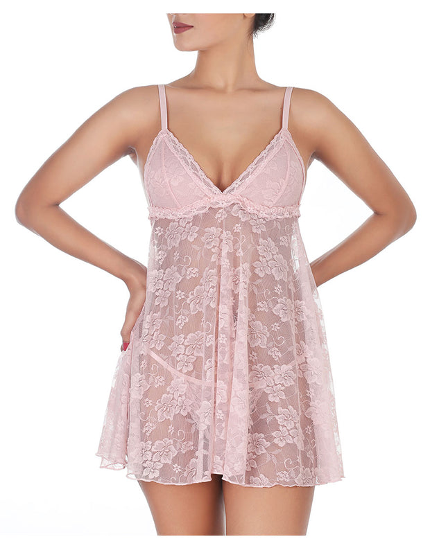 All over Lace Babydoll - Peachskin