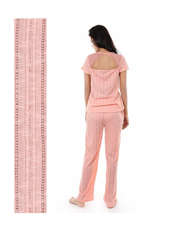TAHARI POINTELLE KNIT CAPRI PAJAMA 2-PIECE SET (PEACH)
