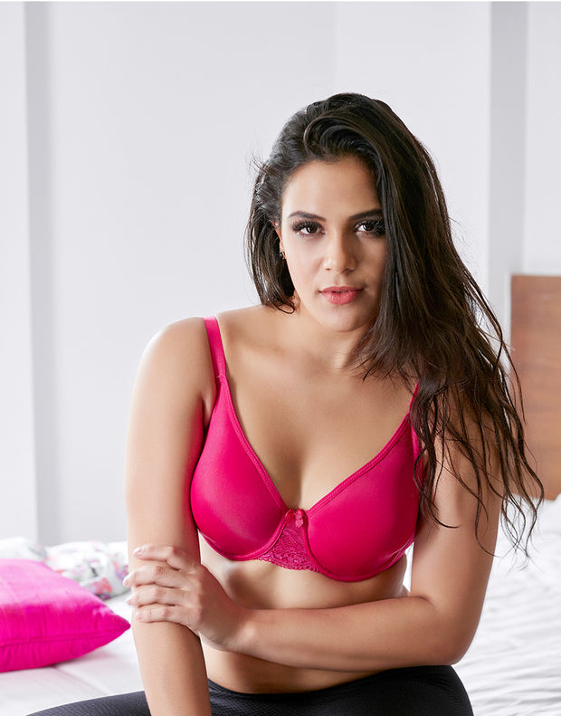 Penny Quattro Minimiser High Coverage Wired Bra With Moulded Non Stretch Cup-Bright Rose