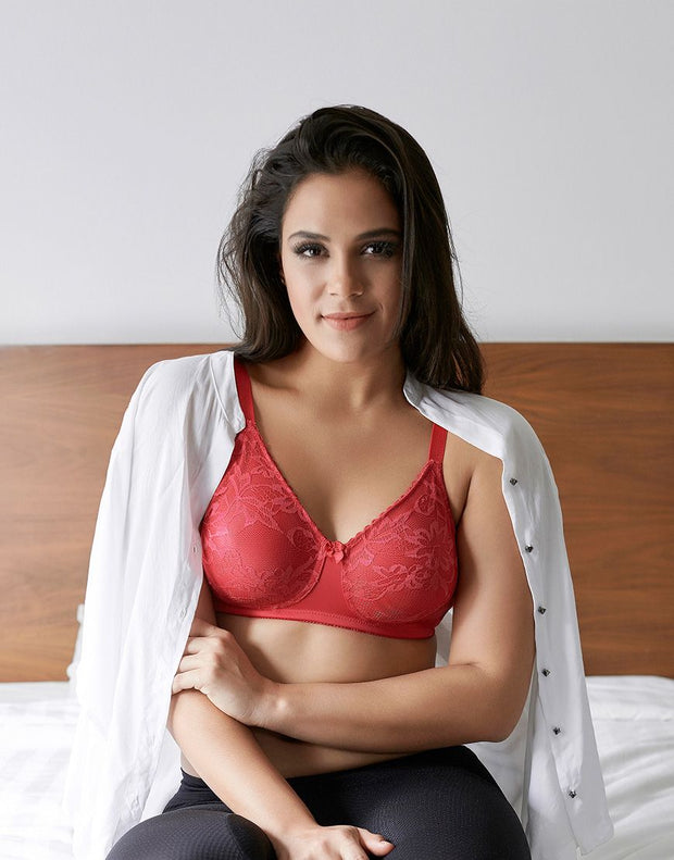 Penny Quattro Lift High-Coverage Moulded Wirefree Bra With Side Shaper Slings-Bright Rose