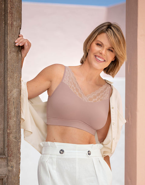 NEW! POCKETED MASTECTOMY BRA-WIRELESS LACE,REMOVEABLE PADDING-TEA PINK