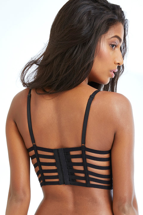 Lace Touch Gentle Push Up Longline Cage Bra-BLACK