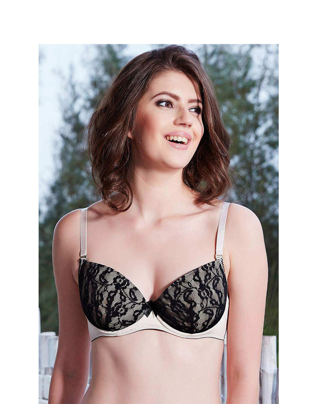 Convertible Floral Lace Overlay Bra-Skin With Black