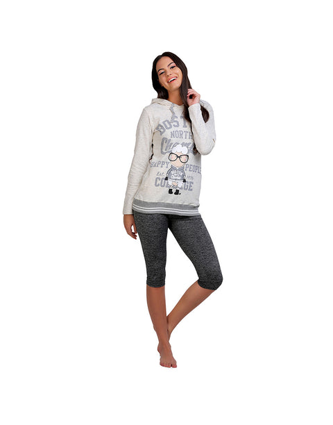 COUCOU WINTER WARMTH FOR HAPPY PEOPLE PURE COTTON HOODIE ECRU