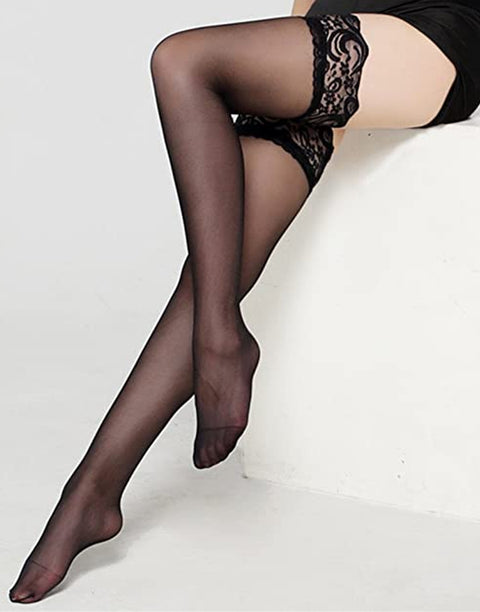 DELICATE LACE THIGH HIGH SILK STOCKING-Black