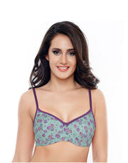 Coucou Cotton Padded 3-4th Coverage Underwired Bra- Aqua Rose Print