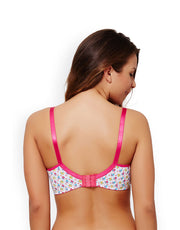 Coucou Cotton Padded 3-4th Coverage Wirefree Bra- White Bird Print