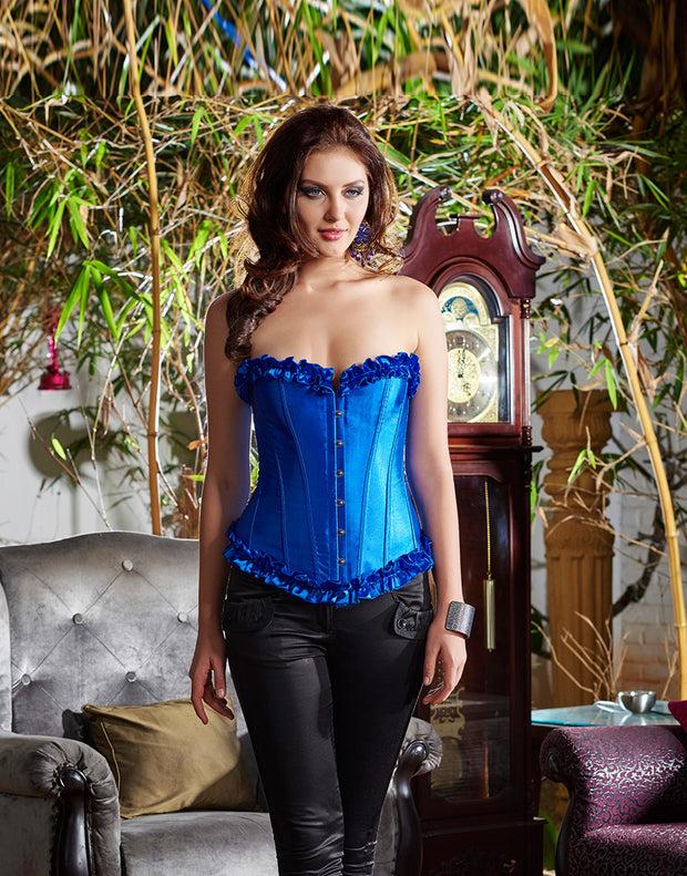 Penny Satin Corset with Ruffles