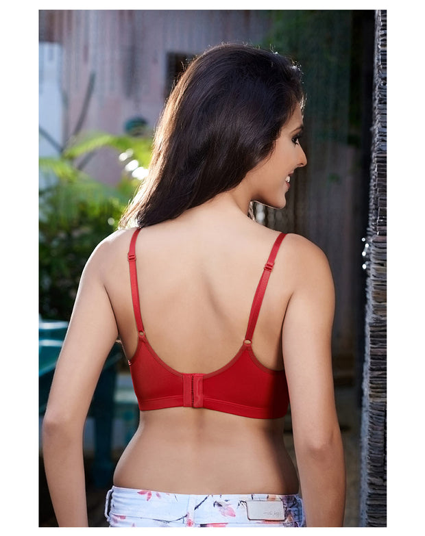Penny Essential Full-Coverage Non-Padded Underwired Bra-RED