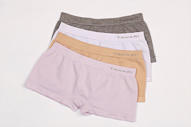 TAHARI GIRLS PACK OF 4 BOY SHORTS LAVENDER FOG