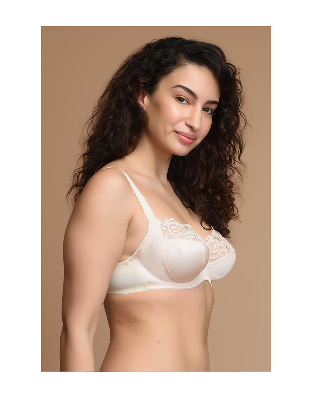 Beautiful Neckline High Support Bra-Nude
