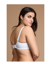 Beautiful Neckline High Support Bra--White