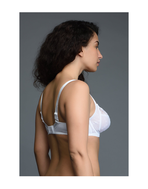 Beautiful Neckline Sheer Mesh High Coverage Bra with Broad Powermesh Wings-White