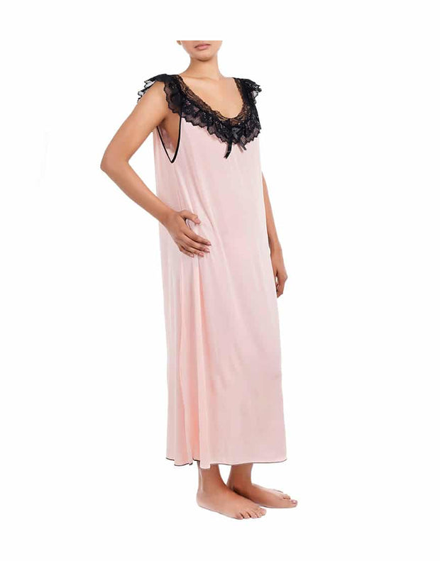 Losha Lace Neck full length nighty with thong