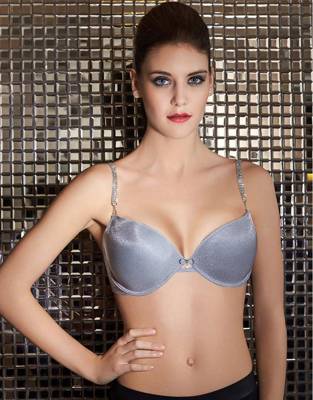 Diamante Strap Shimmer-Cup Padded Wired Bra