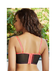Color Block Monroe Strap Bra- Black n Neon Pink