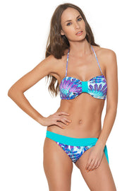 PENNY AQUA ABSTRACT FEATHER PRINT BANDEAU BIKINI SET WITH REMOVABLE CUPS