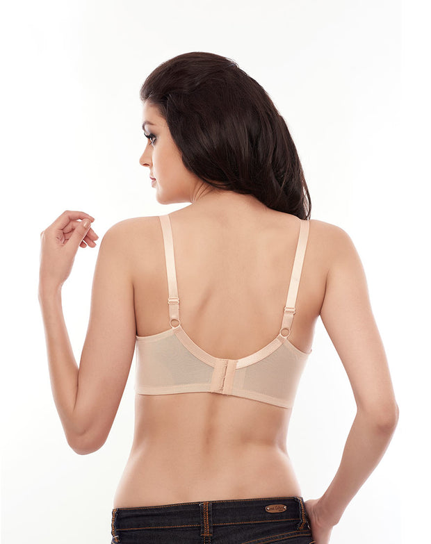 Penny Plus Quattro Support Full-Coverage Wired Bra with Side Shaping Panels-Skin