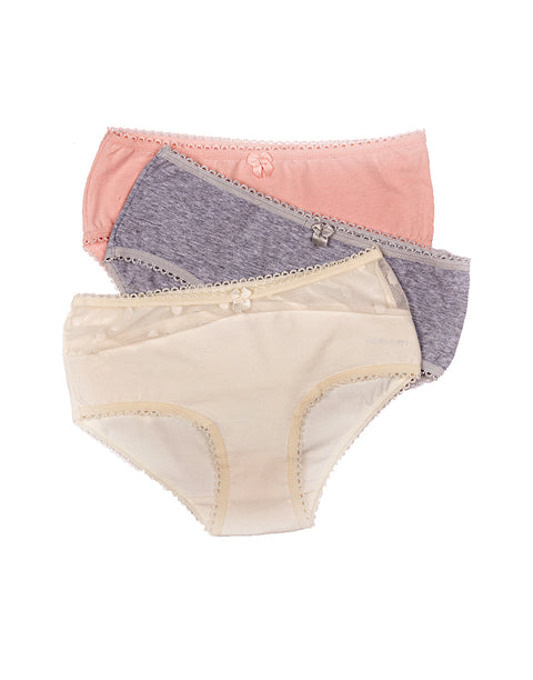 TAHARI GIRLS PACK OF 3 COTTON/SPANDEX & DOT MESH HIPSTER BRIEFS
