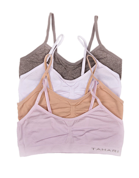 TAHARI GIRLS PACK OF 4 TRAINING BRAS LAVENDER FOG