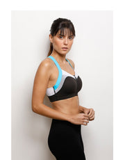 High Impact Front Open Sports Bra- Black N Blue