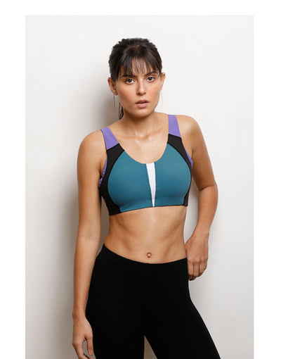 Medium Impact Sports Bra . Saxony Blue