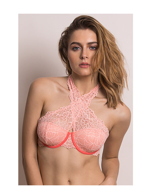 Color Struck Padded underwired Bralette-Peach