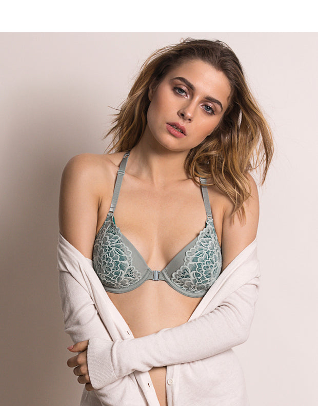 Color Struck Padded Pretty Back Bra-Pale Green