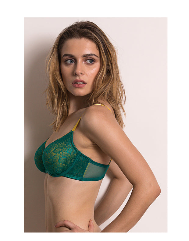 Color Struck Double Layered Wired Bra-Green