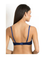LOSHA LUXE LACE PADDED WIRED BRA-BLUE