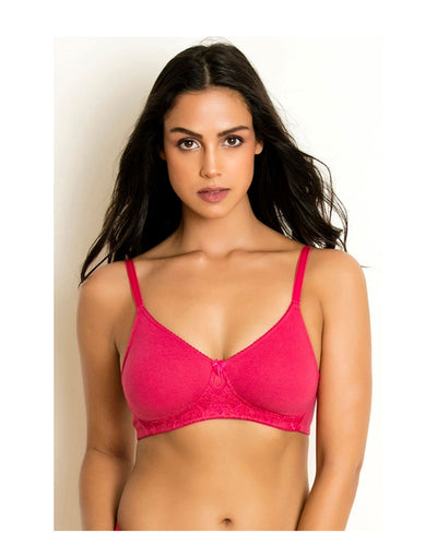 Losha Cotton Double Layered Wire-free Bra- Dark Pink