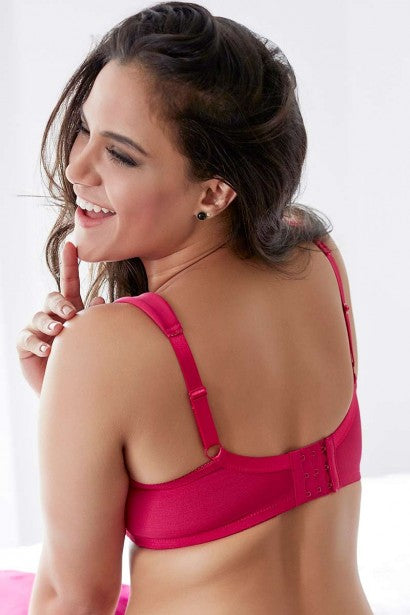 Penny Quattro Lift Full Coverage Wirefree Bra With Cushioned Straps and Side Shaper Slings-Bright Rose