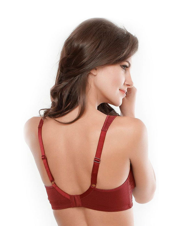 Copy of Penny No Sag Full-Cup Bra With Non-Stretch Jacquard-Maroon