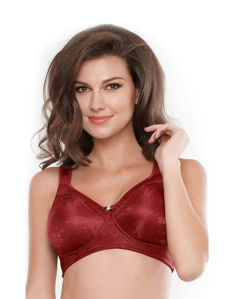 Penny No Sag Full-Cup Bra With Non-Stretch Jacquard-Maroon