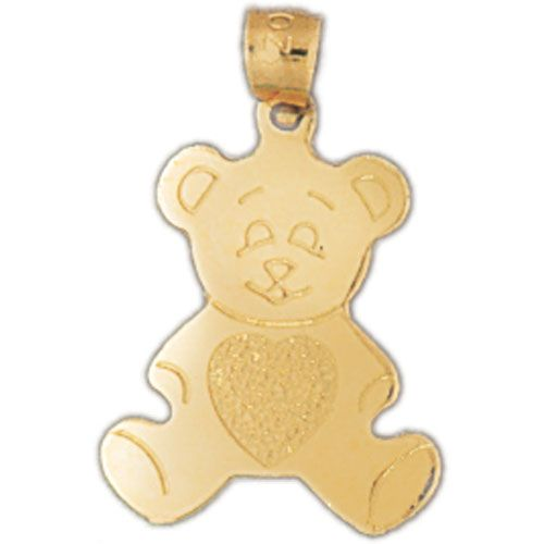 Teddy Bear Charm Pendant 14k Gold