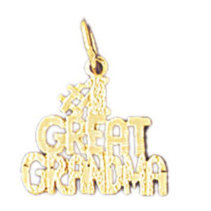 Number One Great Grandma Charm Pendant 14k Gold