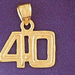 Charm Pendant 14k Gold Number 40