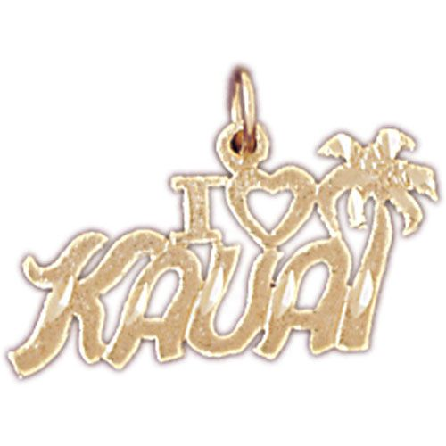 I Love Kauai Hawaii Charm Pendant 14k Gold