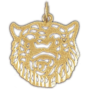 Tiger Head Charm Pendant 14k Gold