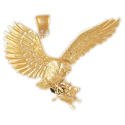 Eagle Hunting Mouse Charm Pendant 14k Gold